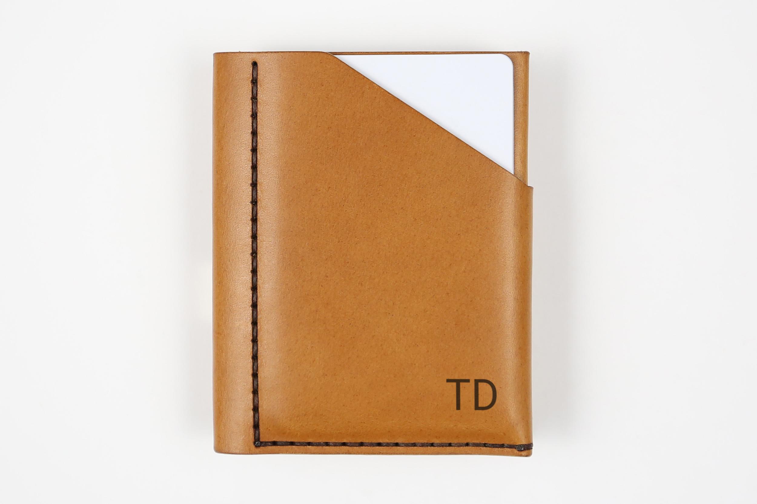 Minimalistinė odinė piniginė Slim - šviesiai ruda