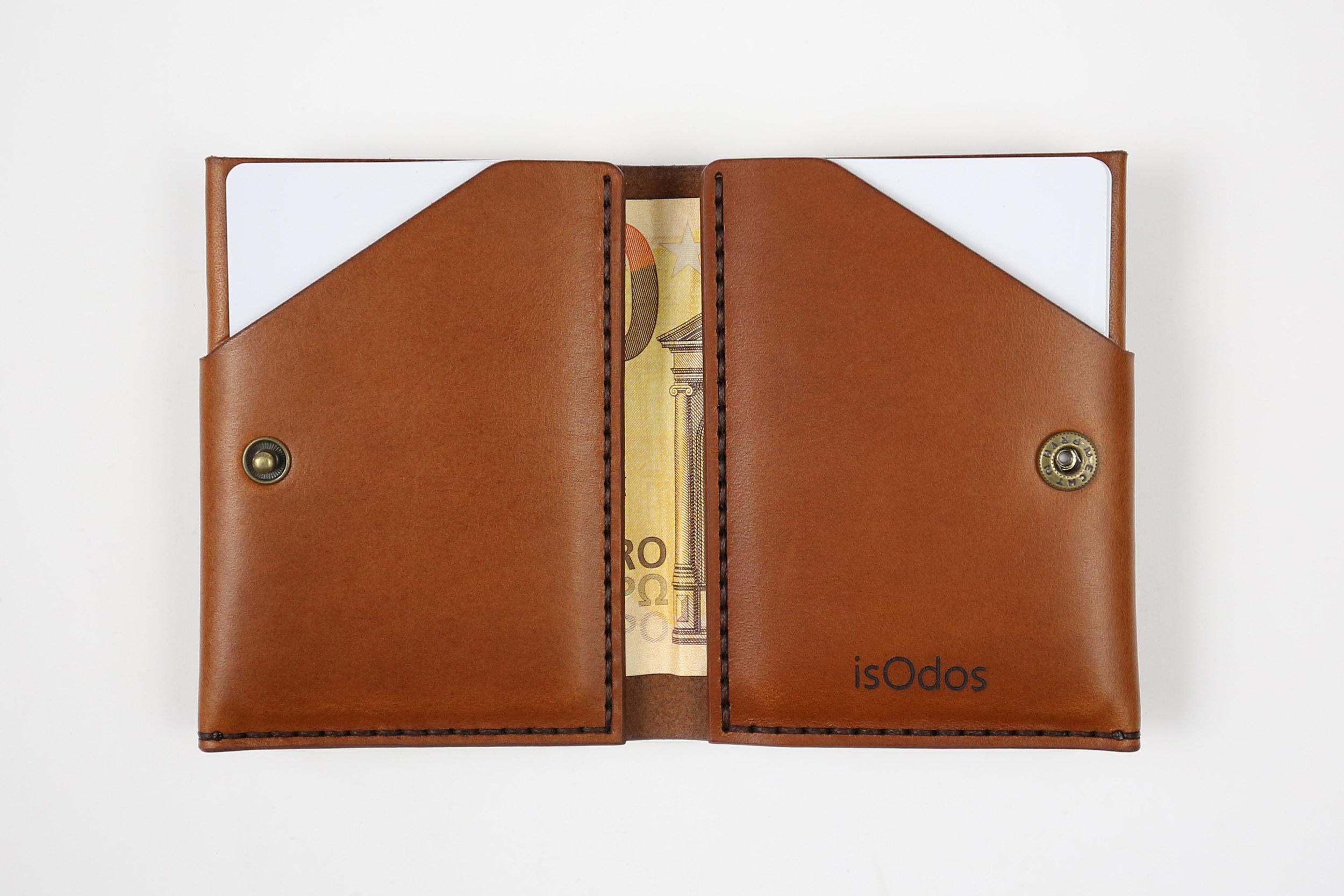 Minimalistinė odinė piniginė Slim - ruda
