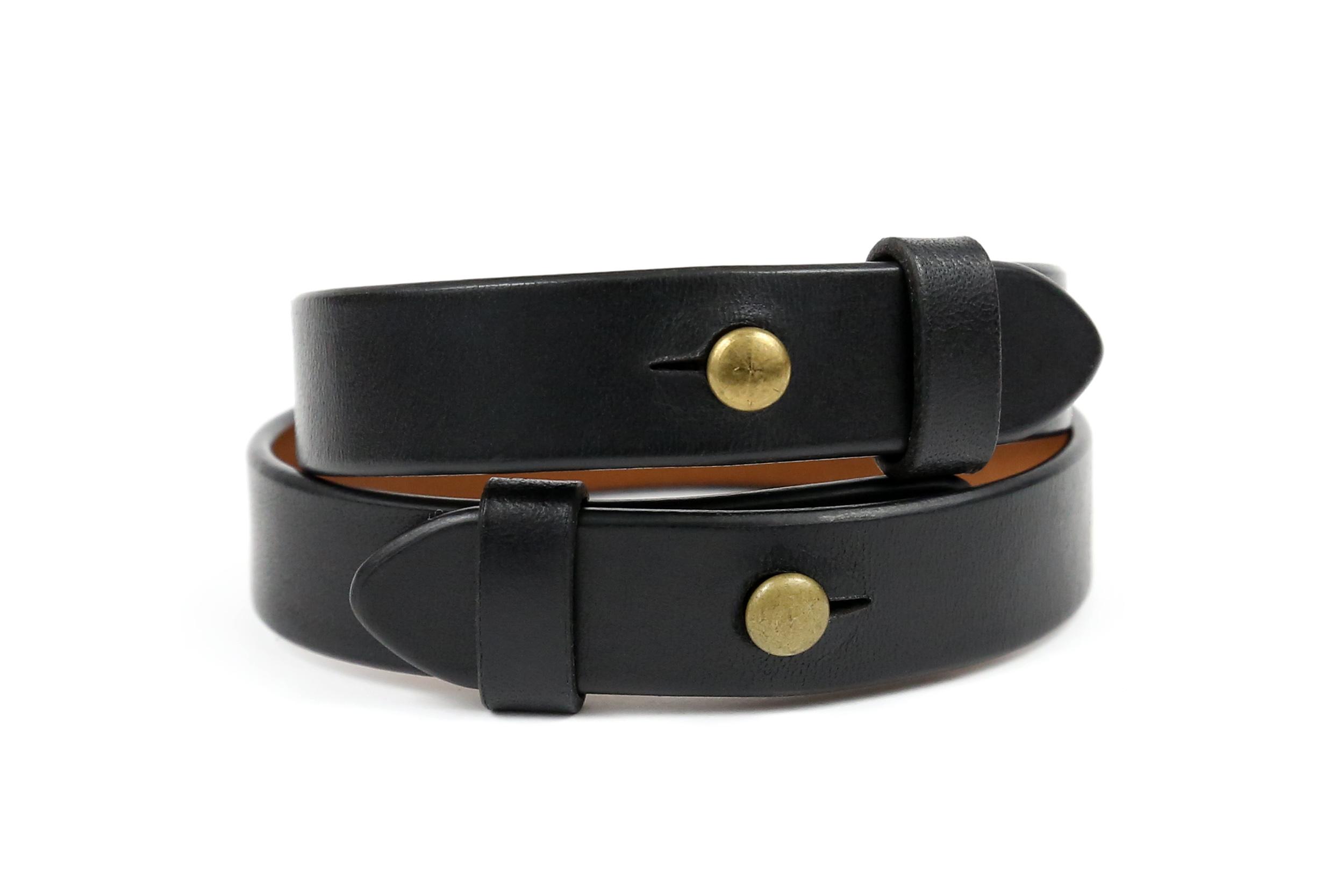 Juodos spalvos odinės apyrankės porai 1,5 cm