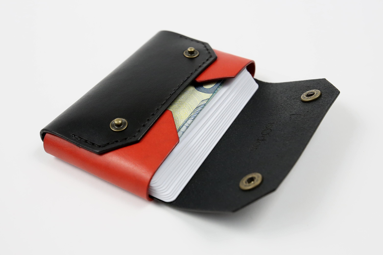 """Rankų darbo minimalistinė odinė piniginė """"Mini"""" [Raudona]"""